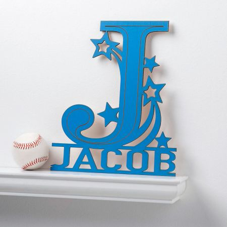 Personalized Blue Name & Initial Plaque