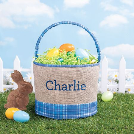 Personalized Burlap & Gingham Easter Baskets