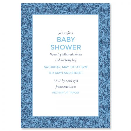 Blue Wave Frame Shower Personalized Invitations