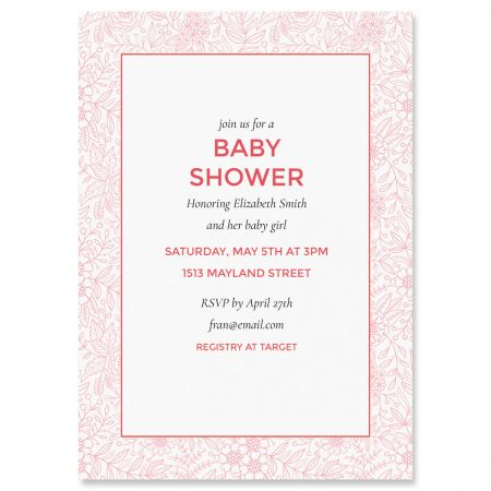 Red Floral Frame Personalized Shower Invitations