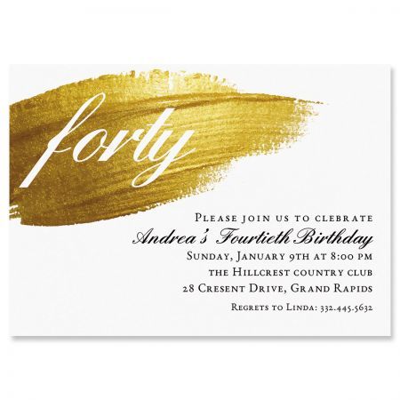 Brushed Elegance Milestone Personalized Invitation