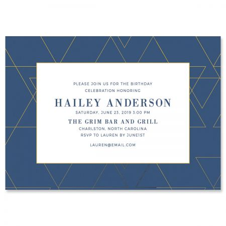 Posh Navy Geometric Personalized Invitations