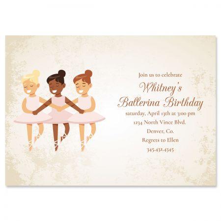 Ballerina Dancers Birthday Personalized Invitations