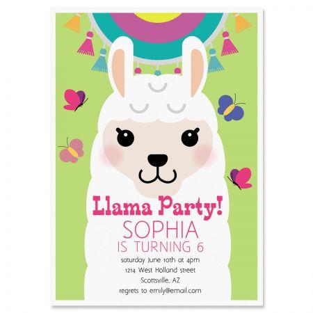 Llama Festival Birthday Personalized Invitation
