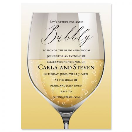 Glass of Bubbly Personalized Invitations