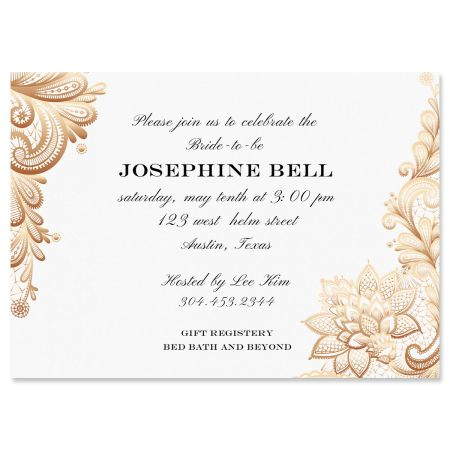 Gold Lace Personalized Invitations
