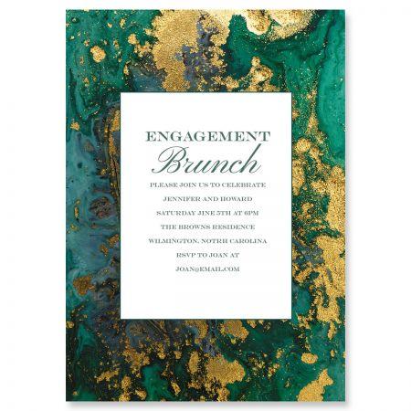 Emerald & Gold Agate Personalized Invitations
