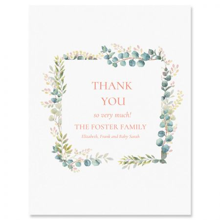 Floral Frame Personalized Thank You Cards