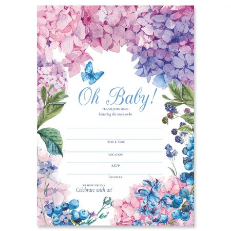 Hydrangea Baby Shower Fill In The Blank Invitations