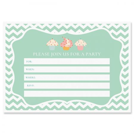 Cupcake Birthday Fill In The Blank Invitations