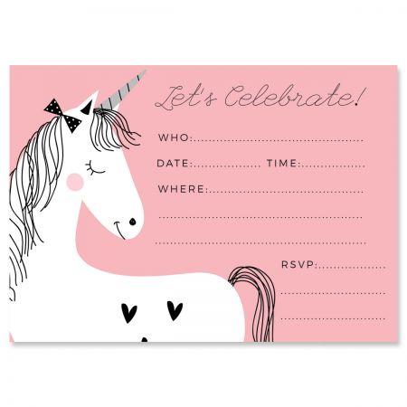 Simple Unicorn Birthday Fill In The Blank Invitations