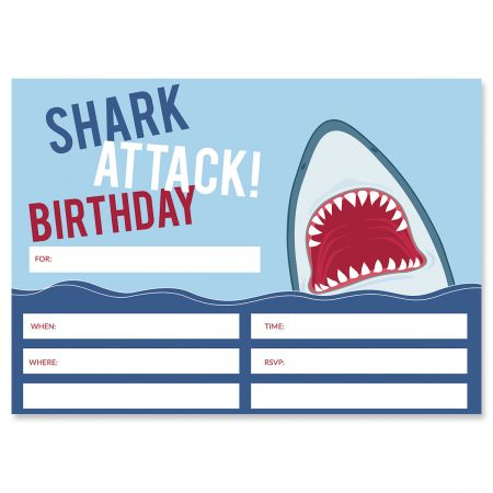 Shark Attack Birthday Fill In The Blank Invitations