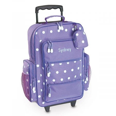 Purple with White Dots Rolling Luggage