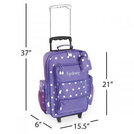 "Purple with White Dots 21"" Rolling Luggage"