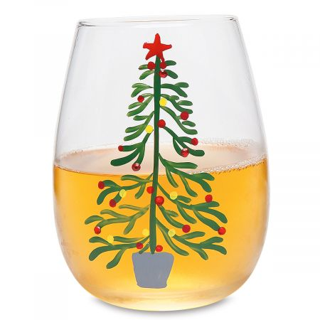 Christmas Tree Hand-Painted Wine Glass