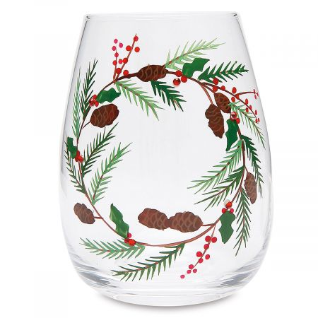 Christmas Wreath Hand Painted Wine Glass