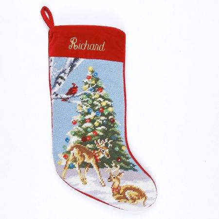 Deer Heirloom Needlepoint Personalized Christmas Stocking