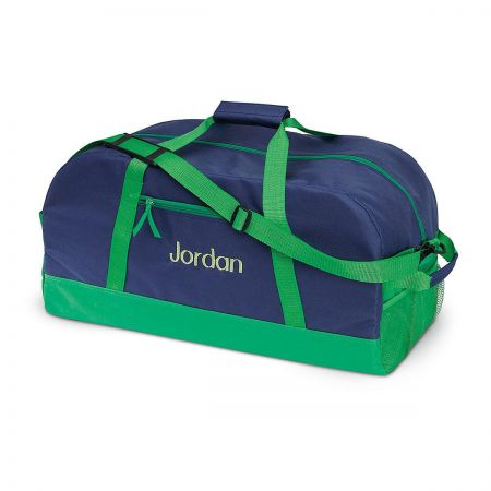 Navy and Green Duffel Bags
