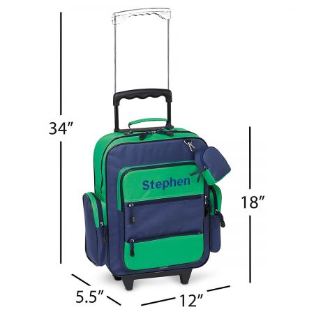 Navy and Green Personalized Rolling Luggage
