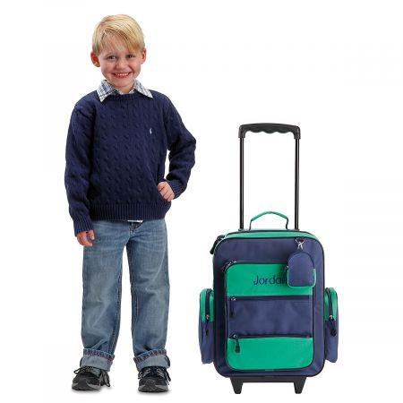 dbf7b48f0c77 Kids Personalized Navy and Green Rolling Luggage | Lillian Vernon