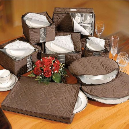 Brown Pillow-Quilted Microfiber Storage Set