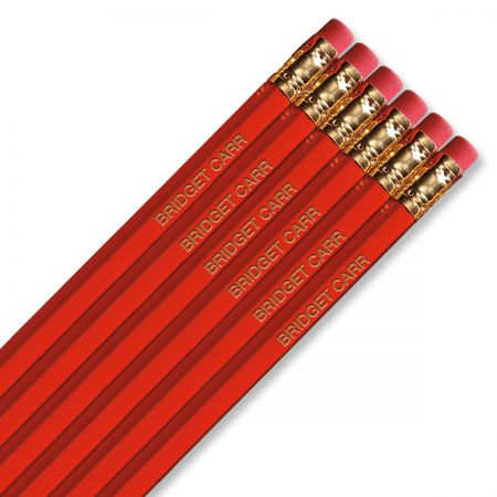 #2 Personalized Hardwood Pencils - Red