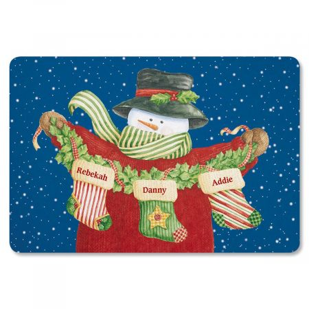 Snowman Stockings Personalized Christmas Floormat