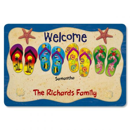 Flip Flop Welcome Personalized Doormat