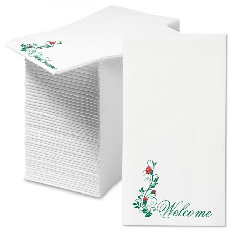 Welcome Red Roses Disposable Hand Towels