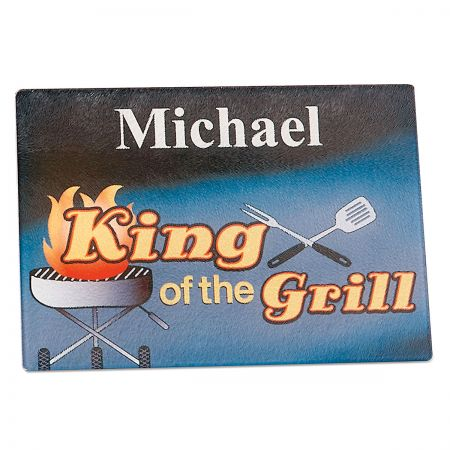 King of the Grill Personalized Glass Cutting Board