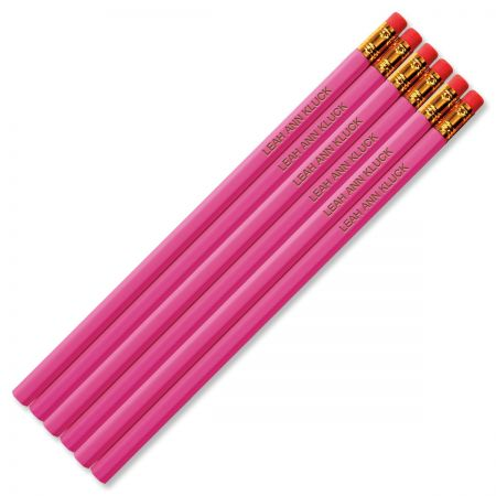 #2 Personalized Hardwood Pencils - Pink