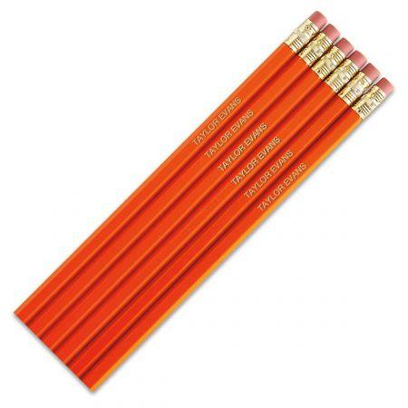 #2 Personalized Hardwood Pencils - Orange