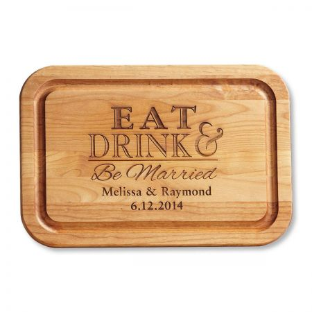 Alder Wood Eat, Drink, Be Married Personalized Cutting Board