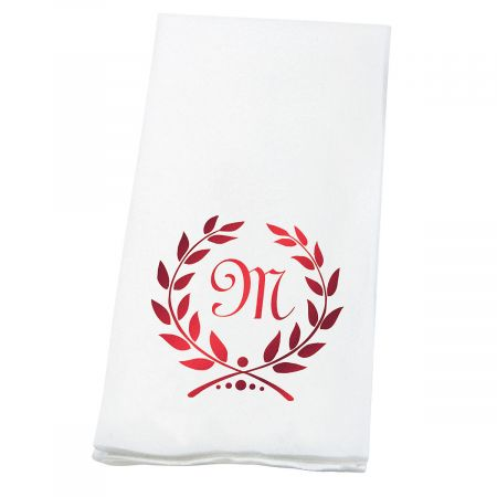 Personalized Wreath Initial Foil-Stamped Hand Towels