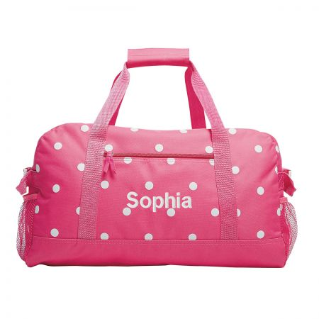 "Pink with White Dots 23"" Duffel Bags"