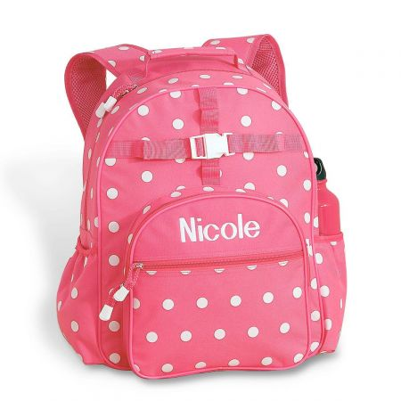 Pink with White Dots Personalized Backpack