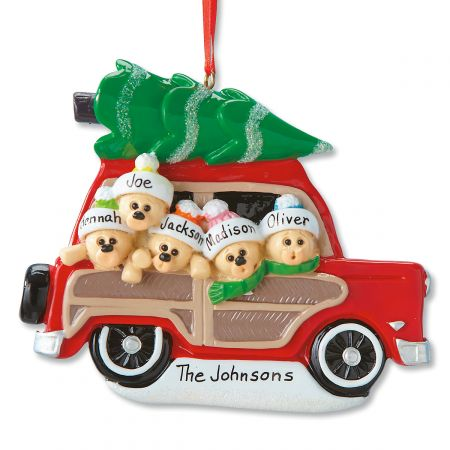 Woody Wagon Family Ornament-5 Names-815903D