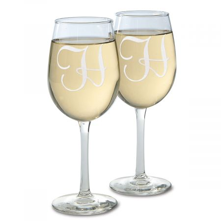 Stemmed Wine Glass with Initial