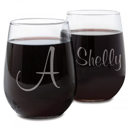 Personalized Script Stemless Wine Glasses