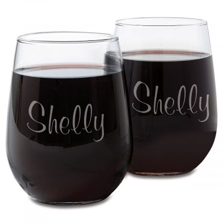 Stemless Wine Glass with Name
