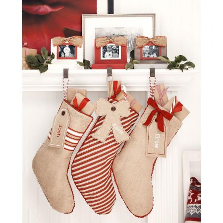Burlap Personalized Stocking Banded With Gift Tag by Mud Pie