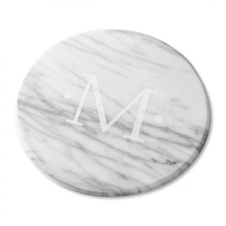 monogrammed marble lazy susan in white monogrammed marble lazy susan in white