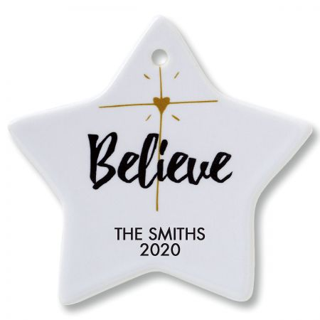 Believe Star Christmas Personalized Ornaments