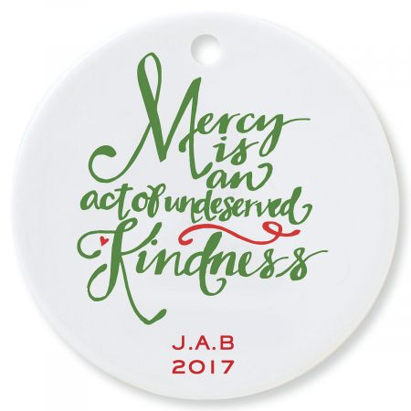 Mercy Round Personalized Christmas Ornament