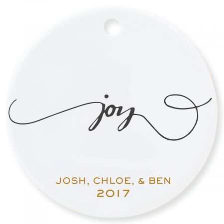 Joy Round Personalized Christmas Ornament