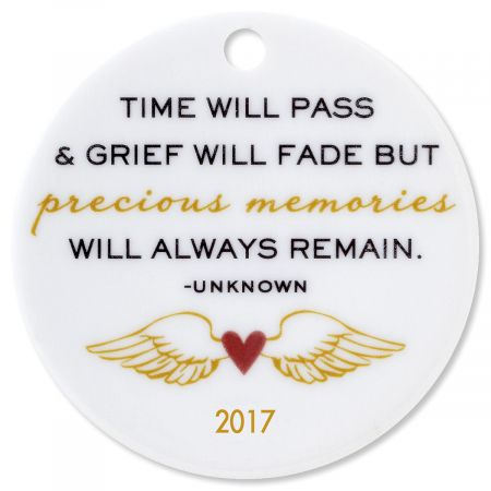 Time Will Pass Round Personalized Memorial Christmas Ornament
