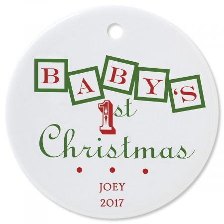 Baby's 1st Round Personalized Christmas Ornament