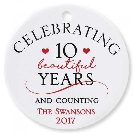 Celebrating Round Personalized Anniversary Christmas Ornament