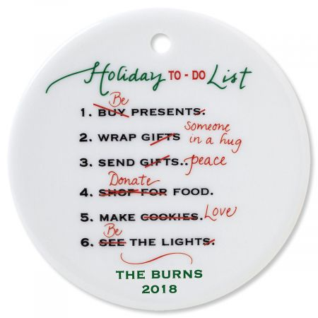 Holiday To Do Round Christmas Personalized Ornaments