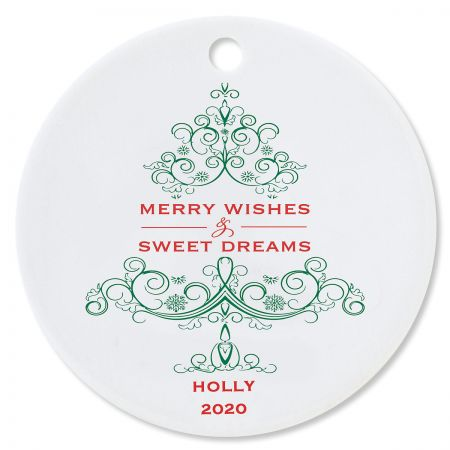 Merry Wishes Round Christmas Personalized Ornaments